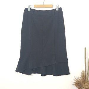 Vex Collection   Black Pencil Skirt Flounce Hem 36